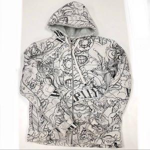 Hurley Mens Full Zip Fleece Lined Hoodie Sz L